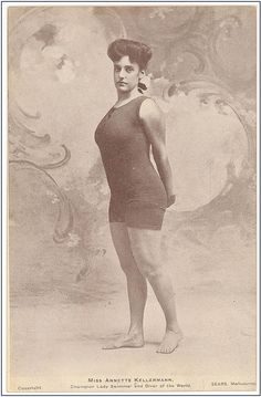 """A photo of a pictorial post card, """"Miss Annette Kellermann, Champion Lady Swimmer and Diver of the World."""" Credit: State Library of New South Wales; Flickr the Commons. Read more on the GenealogyBank blog: """"Great-Grandmother's Swimsuit in Vintage Fashion Articles & Photos."""" http://blog.genealogybank.com/great-grandmothers-swimsuit-in-vintage-fashion-articles-photos.html"""