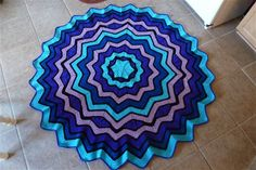 Stained Glass Round Ripple Afghan (24 pts) - Crochet Me