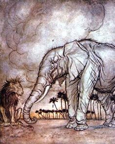 The Lion, Jupiter, and the Elephant, by Arthur Rackham