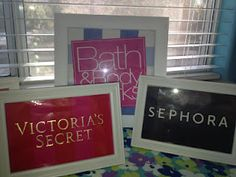 Framing old shopping bags: DIY Wall Decor-Cute idea for teen rooms maybe? Love the Sephora one!