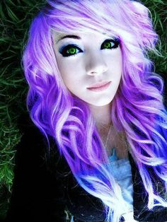 scene girls with purple and black hair  purple hair #pretty #sc...