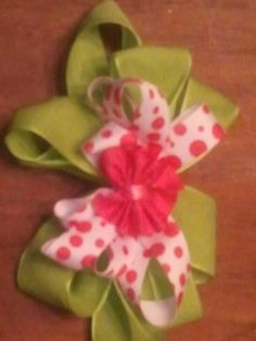 Pink & green bow