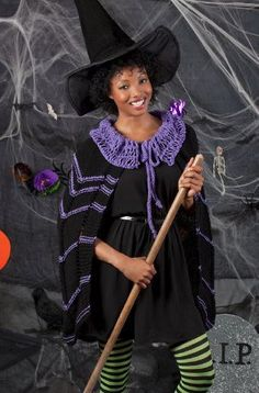 Who said Halloween is just for kids? Cast a spell with this spooky knit cape pattern. The bewitching pattern features a long flowing cape with a spider web style collar. Add a black hat, tights, a broom, and you've got yourself a costume!