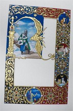 Knighting scroll from Atenveldt, given just now in grand court, wish I had a scan of the completed scroll, illumination and design by Amber Shepard (Mistress Grainne the Red)