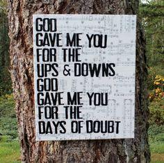 """God gave me you""  #Blake Shelton   Lyrics vintage sheet music canvas by Houseof3 #country music"