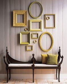 ideias criativas para decoração de casa, idéias de decoração de parede com molduras vazias