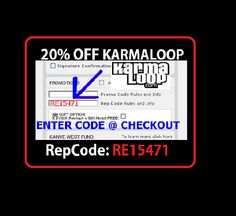 How to Use Karmaloop Coupons There are 2 types of codes you can use at checkout. A promo or gift code can be use one time and only one per order. Rep codes (codes you get from an employee of the company) give you 20 percent off your first order and 10 percent off each order after that, as long as you're signed in to your account.