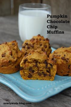 Chocolate Chip Pumpkin Muffins- great recipe- I used 3/4 applesauce instead of oil.  added 1/2 cup ground flax seed with half cup almond milk.  then did 1 cup whole wheat and 1 cup ap flour- SG
