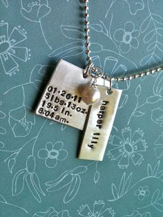 OH BABYHand Stamped New Baby Stats by DarkChocolateNTulips on Etsy, $38.00