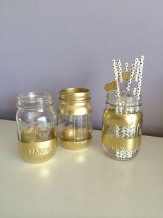 Gold Mason Jars Bar Cart Accessories by MadeInTheShadeShop