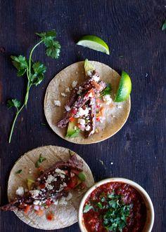 Fire-Roasted Garden Salsa + Skirt Steak Tacos by upcloseandtasty #Tacos #Skirt_Steak #Salsa
