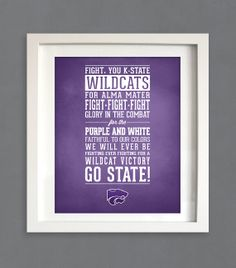 Kansas State Fight Song Print - KSU - KState K-State Wildcats Typographic Art Poster