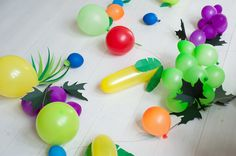 Fun fruit party decorations using balloons. - fruits of the spirit?