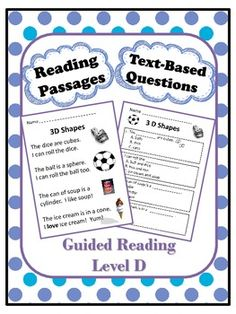 Reading Comprehension Passages with Text-Based Questions ~ Available for Guided Reading Levels C, D, E, F and G. ($)