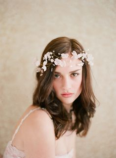 Bridal silk flower blossom halo  Blushing floral crown  by myrakim, $525.00