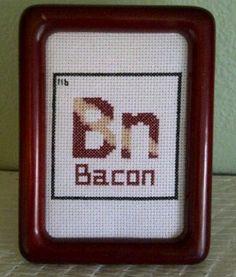Pattern Funny Cross Stitch Bacon Humorous Subversive Table Of Elements DIY PDF Original. $5.00, via Etsy.