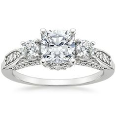 18K White Gold Three Stone Heirloom Diamond Ring (1/2 ct. tw.)