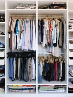 "Many builders default to ""1R1S"" or ""one rod, one shelf"" in closets, while most residents do not have wardrobes dominated by long dresses and coats. If you wear more blouses and pants, try installing a second clothing rod to double your hanging space. For a quick fix, you can buy a rod that hangs off the top one.    Read more: Closet Storage - Storage Solutions - Good Housekeeping"
