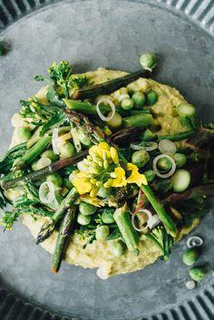 asparagus, pea + broccoli rabe sauté over chickpea mash