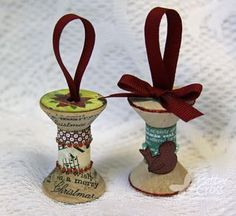 spool christma, christma stuff, christmas decorations, christma idea, wooden spools