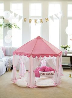 """Indoor """"glamping"""" for a pajama party"""