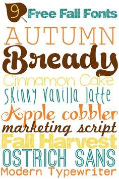 9 Free Fall Fonts  ~~ {w/ links}
