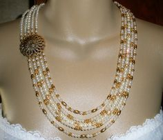 Bride Necklace Pearl Gold Starburst Five Strand by DimmittDesigns, $50.00