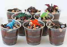birthday parti, mini desserts for parties, kids cup cakes, dino dirt cups, birthday treats, dinosaur dirt cake, cute desserts for kids, birthday cakes, dinosaur dirt cups