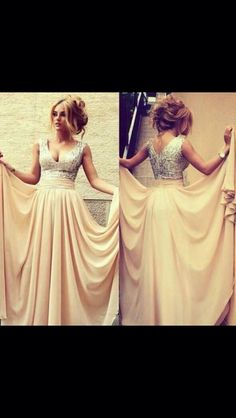 Another similar beautiful pear color and beaded dress