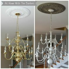 Chandelier Makeover using spray paint