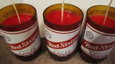 Red Stripe Jamaican Beer Bottle Candle  Repurposed by CandlesByOC, $11.00