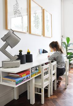 kids homework, idea, bench, desks, craft desk, study areas, craft tables, kid crafts, full house