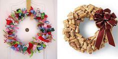Corona de Navidad con materiales reciclados
