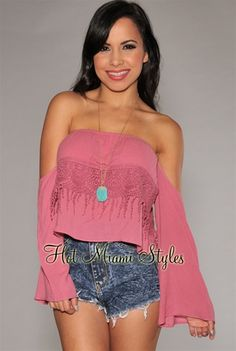 Dust Rose Off-The-Shoulder Bell Sleeves Top. $34.99
