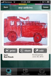 Artkive app allows you to save, organize, and print your kids' artwork. Soooo brilliant!