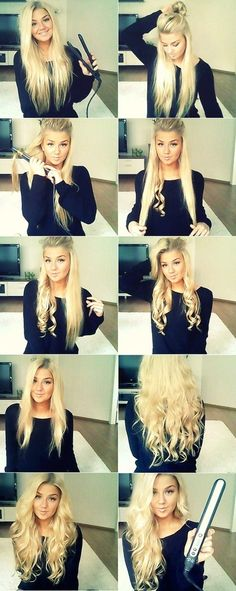 Curling hair with a straightener.