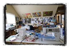 Designer Valorie Wells' sewing room - wow!