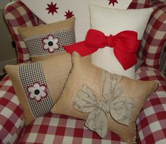 Pillows made from burlap, felt and specialty ribbon.