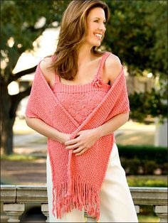 Shimmering yarn and an interesting stitch add feminine appeal to this beautiful summer set.Includes: Women's sizes small to X-large. Made with bulky weight tape yarn and sizes 8 (5mm) and 10 1/2 (6.5mm) needles.Skill Level: Easy