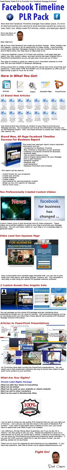 Facebook Timeline PLR Pack- Articles, Report, Videos Plus More....