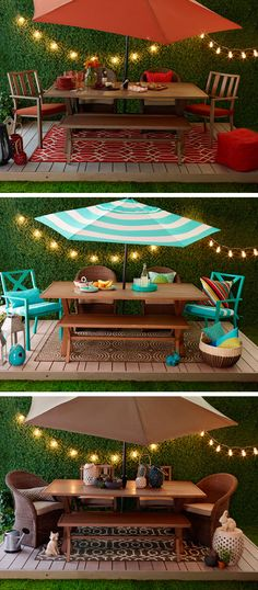 Lights, rugs, pillows, umbrellas. By adding a few choice accessories and your own touch of style, your patio will be ready for summer entertaining fun.