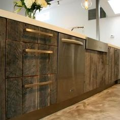 reclaimed wood cabinets using old wine crates-would love to see this up close