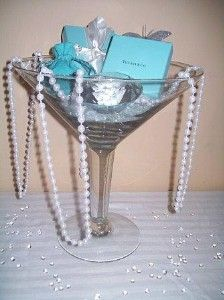 Tiffany themed glass-ware for wedding shower.