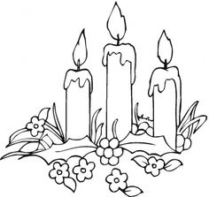 Printable Flowers   Candles And Flowers coloring page   Super Coloring