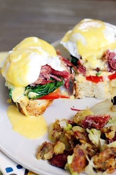 Irish Eggs Benedict with Corned Beef and Cabbage Hash...