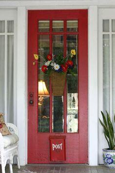 red cottage door