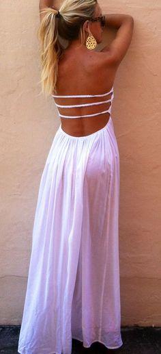 Thin straps back detail white maxi dress