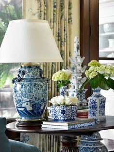 decor, design homes, home interiors, vignett, ginger jars, architecture interiors, white, lamp, blues