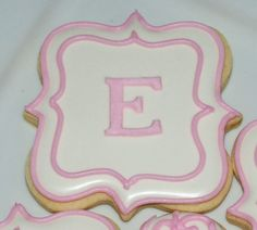 White and Pink Monogram Plaque Cookies - One Dozen Decorated Sugar Cookies