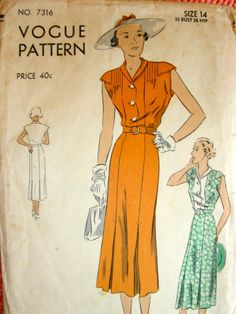 "Vintage 1930's VOGUE Pattern 7316 - LOVELY ""Easy-to-make"" Dress with Six Gored Skirt  - Bust 32"